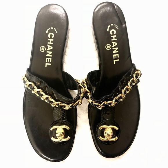 2ae6cb0935cd57 CHANEL Shoes - Chanel Black Thong Sandals AUTHENTIC 💕BRAND NEW💕